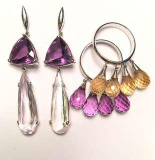 Set White gold and Brazilian precious stones