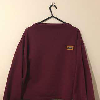 lantern sleeve burgundy sweater
