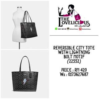 REVERSIBLE CITY TOTE WITH LIGHTNING BOLT MOTIF COACH F22552