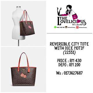 REVERSIBLE CITY TOTE WITH DICE MOTIF COACH F22551