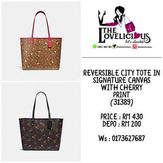 REVERSIBLE CITY TOTE IN SIGNATURE CANVAS WITH CHERRY PRINT COACH F31389