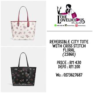 REVERSIBLE CITY TOTE WITH CROSS STITCH FLORAL COACH F25860