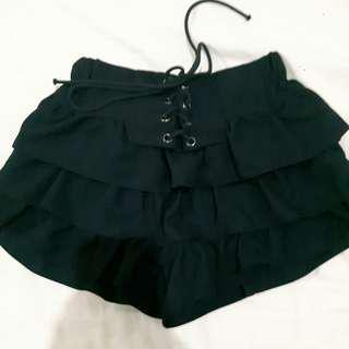 Lace Up Ruffle Skirt Pants