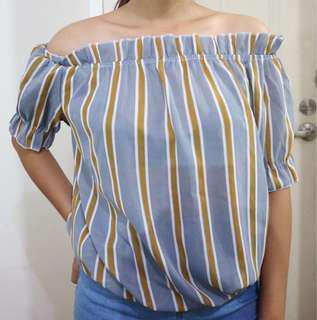 Blue off shoulder top