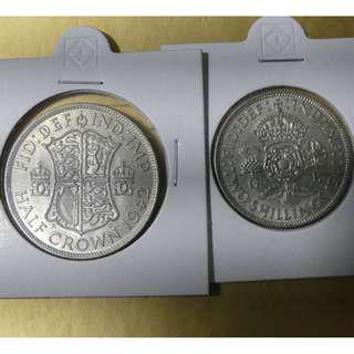 Great Britain WWII Old Silver Collector Coins 1943 Half Crown and 1940 Florin King George VI