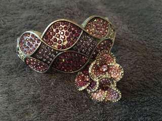 Purple Rhine Stone Bracelet & Flower Ring