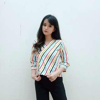 Topshop Colorful Stripe Top