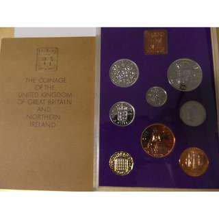 Great Britain 1970 Pre-decimal Proof Set Half-Penny Penny Threepence Sixpence Shilling Florin Half Crown QEII medallion