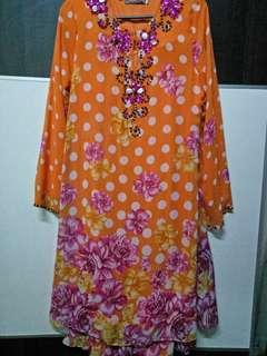 Baju Kurung Moden (orange)