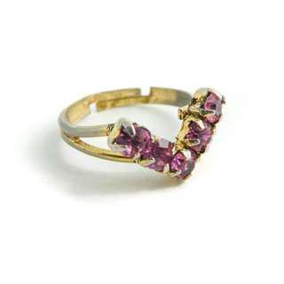 Pink V Shape Ring