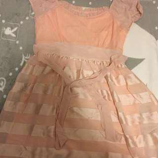 🚚 [近全新]絲綢緞面小洋裝X粉色春天氣息#九月女裝半價