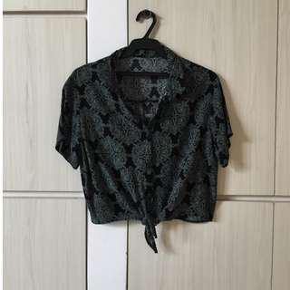 Black patterned tie top