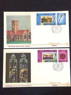 Jersey 1983 Europa 2x FDCs stamps