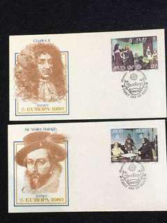 Jersey 1980 Europa 2x FDCs stamps
