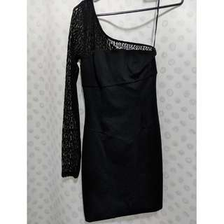 Guess jet black one shoulder dress size 5 RRP $99.95