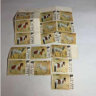 【免運費】民國62年駿馬圖一套共16張郵票