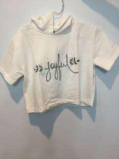 Colorbox White Crop Top with Hoodie