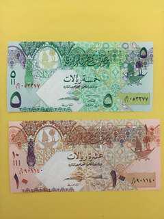 卡塔爾5 &10 Riyal 頂級直版Qatar 5 &10R gem unc