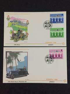 Jersey1984 Europa 2x FDCs stamps