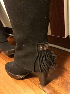 Dark brown long boots