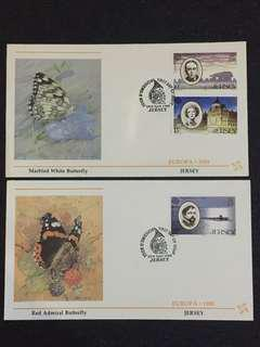 Jersey 1985 Europe 2x FDCs stamps