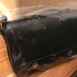 Dunhill Double Lock Leather Briefcase Black