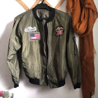 Army Patched Bomber Jacket