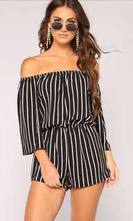 Fashion Nova Striped Romper