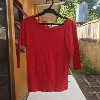 PROMOD Red 3/4 Sleeved Top