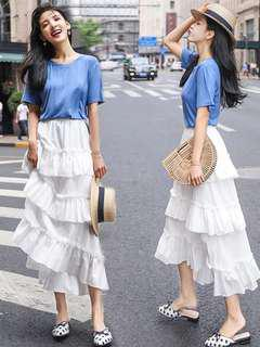 Korean White Midi Skirt layers cake ruffles style beautiful stylish a line dress elastic #mcsfashion
