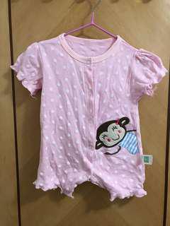粉紅波點小猴子嬰兒短袖連身衣