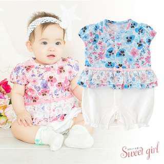 日本購入 勁靚粉紅花花嬰兒短袖連身褲 女 60