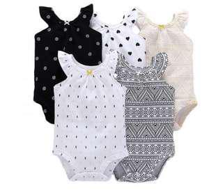 夏天必備!五件裝易襯圖案背心嬰兒BB包屁衣 哈衣 女