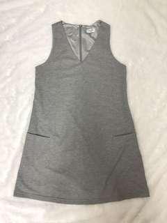 V grey shift dress