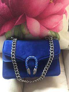 GG Blue suede Handbag