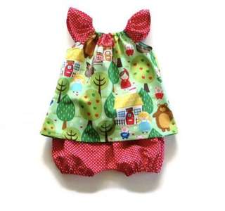 可愛圖案嬰兒兩件式背心短褲套裝 bb 女