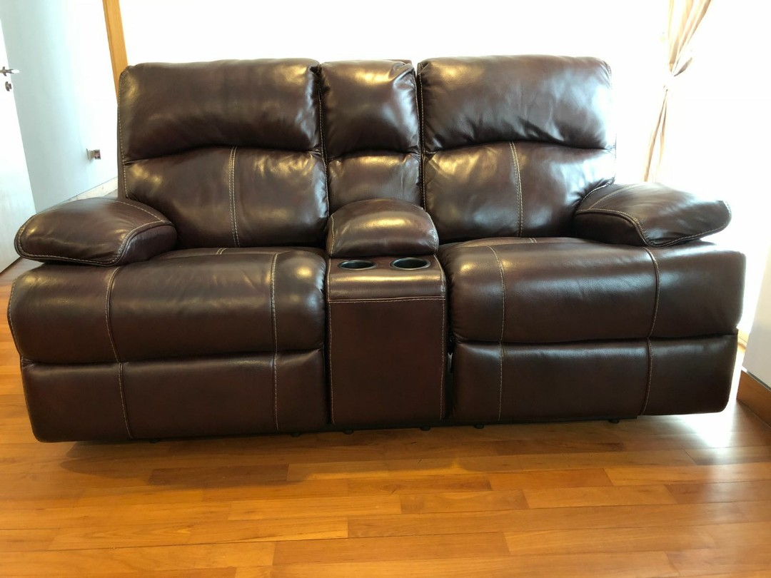 2 Seater Leather Recliner Sofa, Furniture, Sofas on Carousell