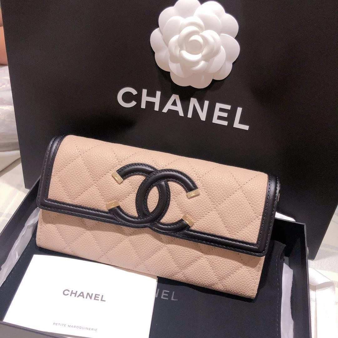 34009d44289e 95折]Chanel 長夾filigree vanity wallet經典搶購色粉黑配Sogo購入 ...