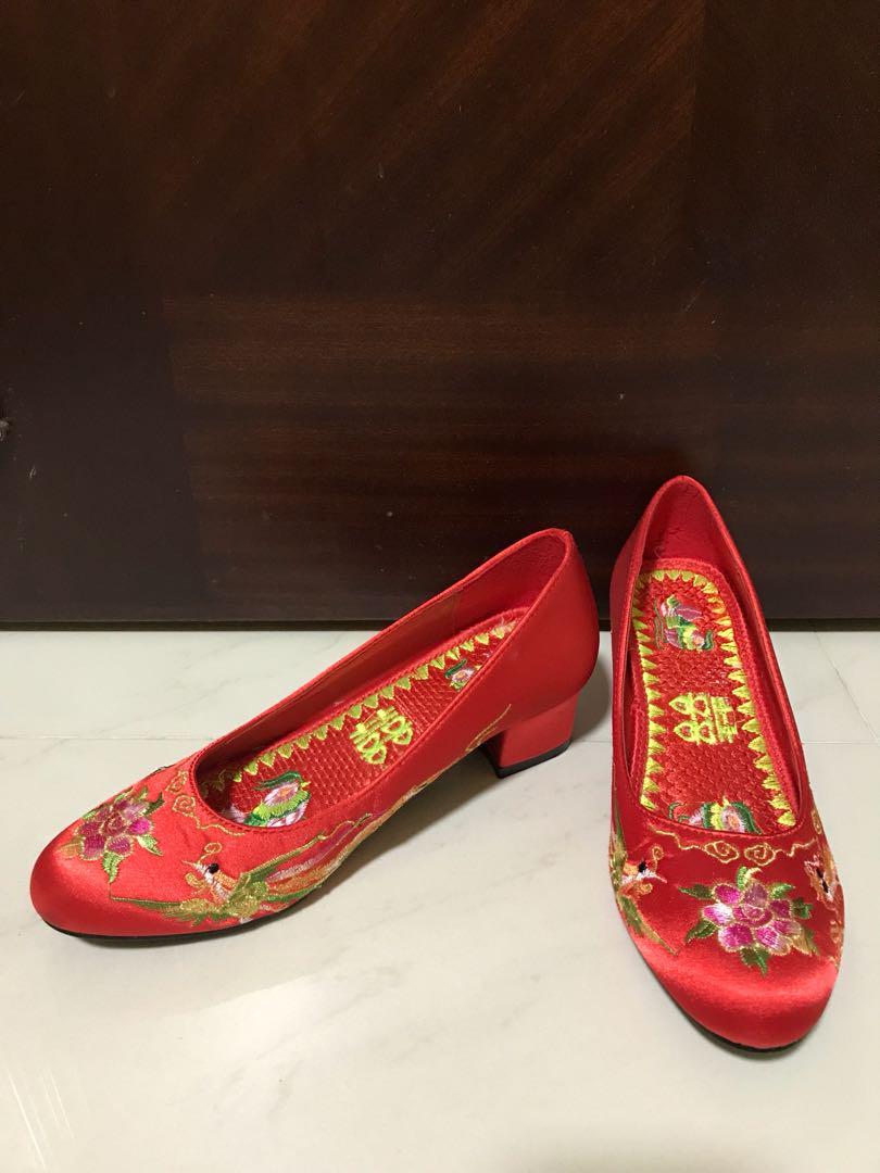 結婚物資 中式繡花褂鞋 size 35