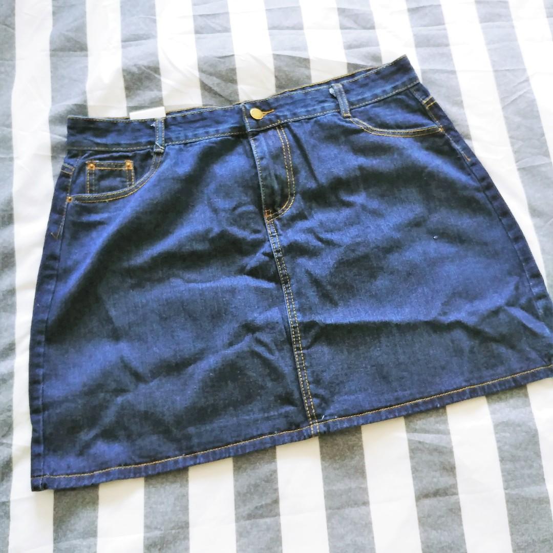 7c3d4a3e709 BNWT Dark Blue Denim Skirt Plus Size 5XL UK 14 16 18