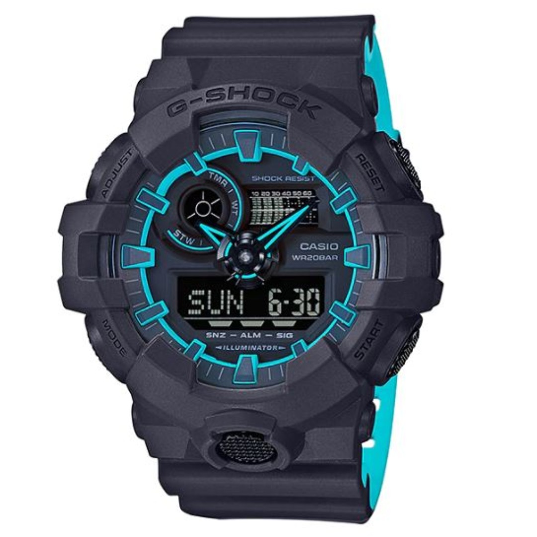 040c92be88bf Casio G-Shock Blue Neon Two Tone Digital Analog Sports Men s Watch ...
