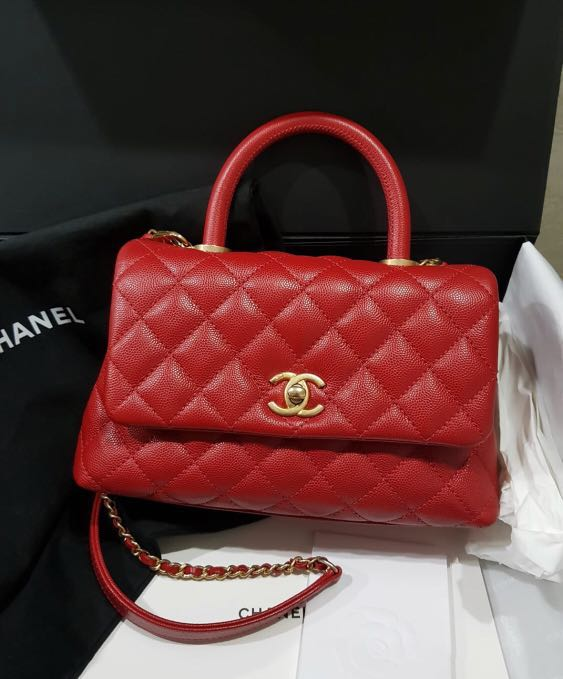145c256d404bad Chanel COCO mini red with GHW, Luxury, Bags & Wallets, Handbags on Carousell