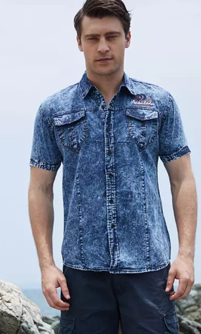 d892a243 Denim Short Sleeve Good Quality Men Shirt plus size 2XL, Men's ...