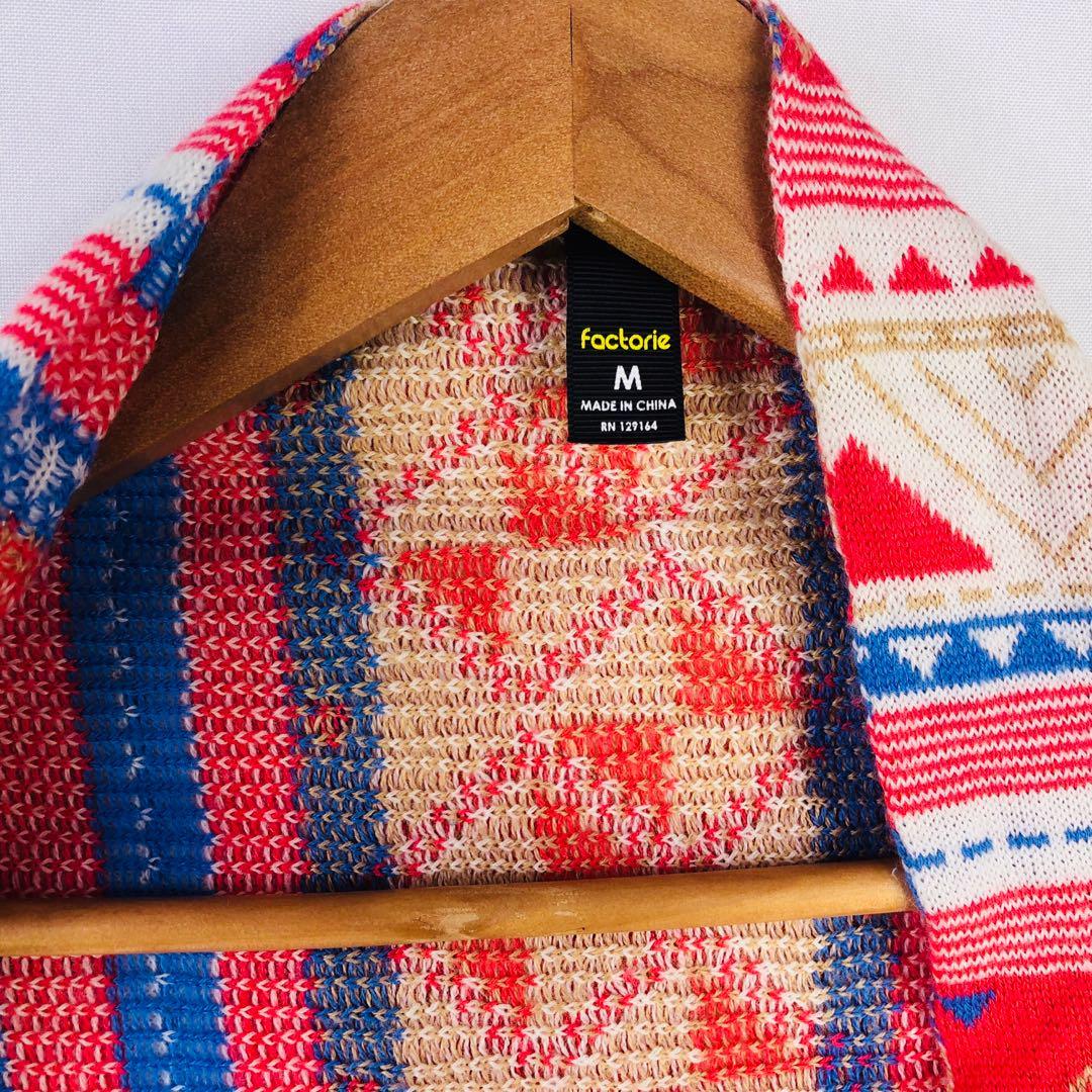 Factorie Size Med (12) Hi Low Jacket Tassel Knit Cardigan Aztec Geometric Boho