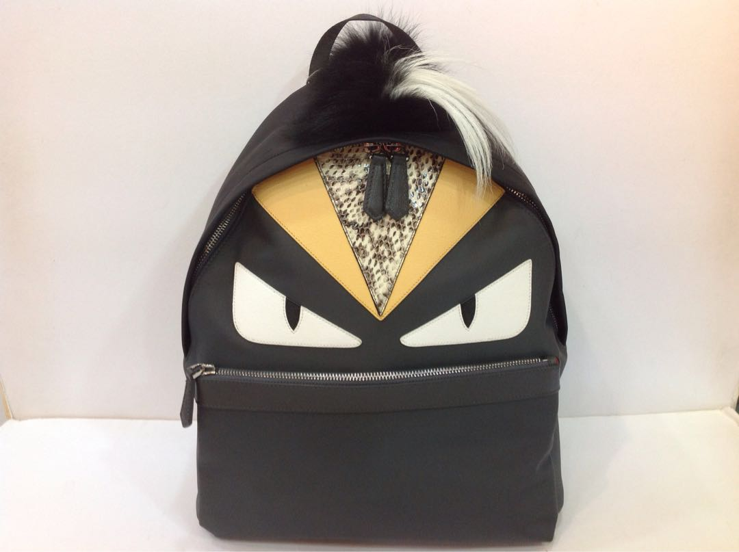 2b4344d892f8 FENDI MONSTER BACKPACK IN NYLON AND GRAY LEATHER WITH INLAYS