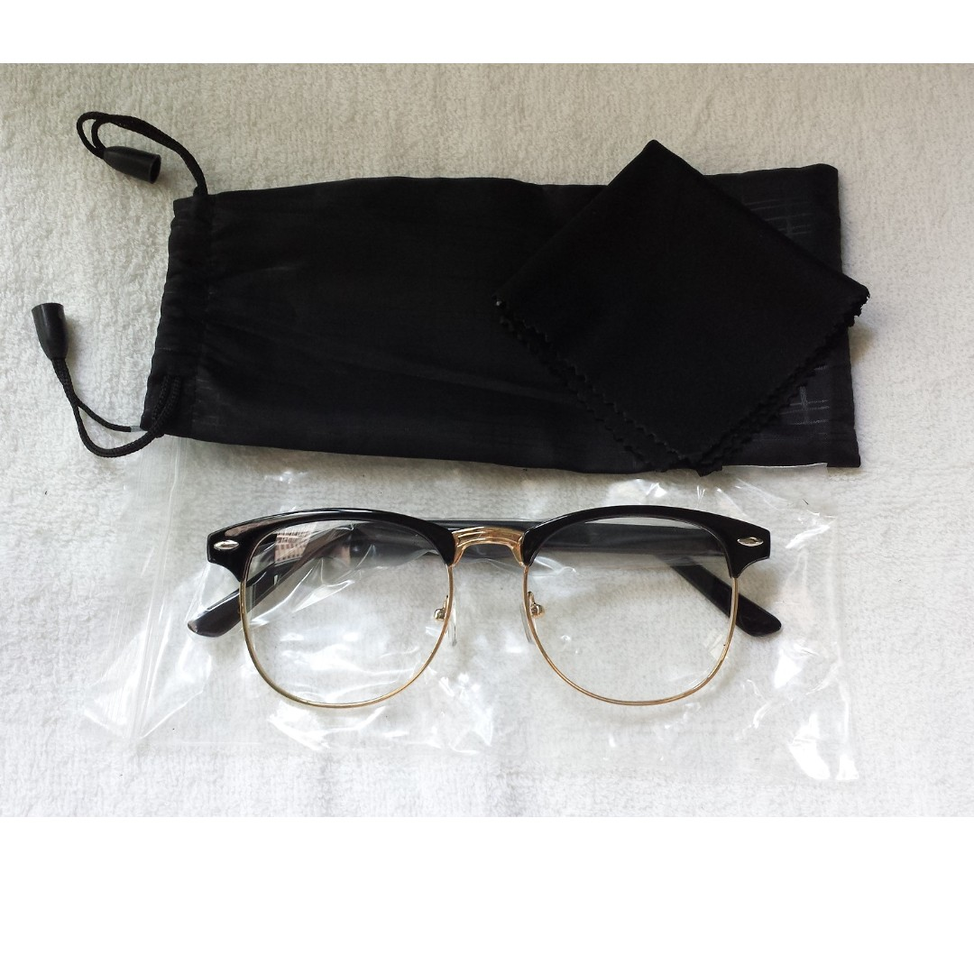 a473bb5ea37f2 Glossy Black vintage Eyewear Spectacle Clubmaster Frame Glasses ...