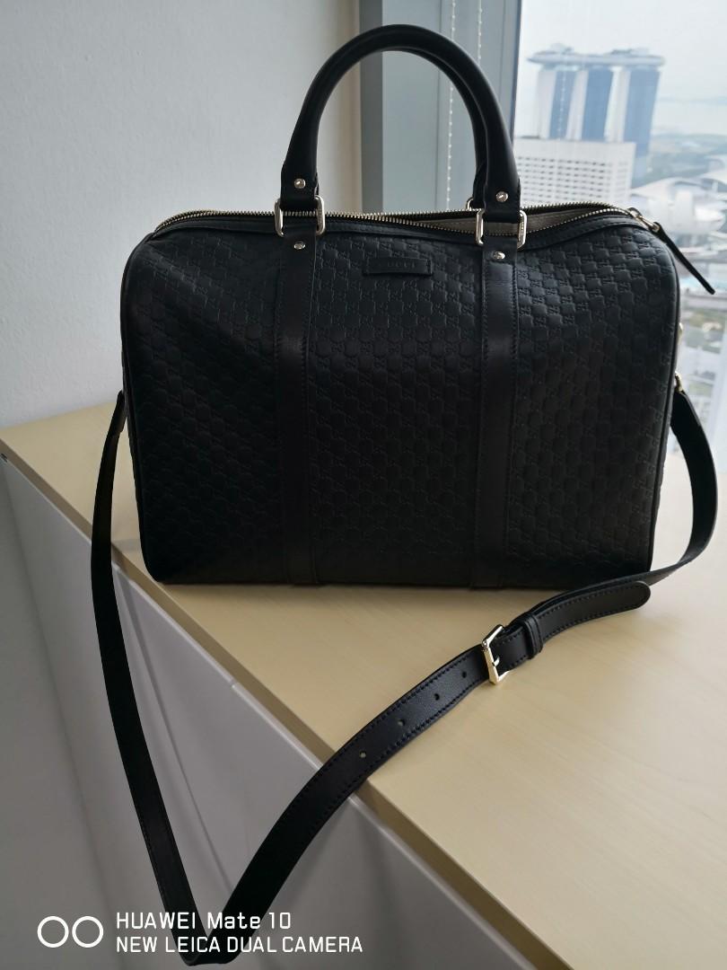df03d4436d9 Gucci Boston Bag with Strap Black leather shoulder bag