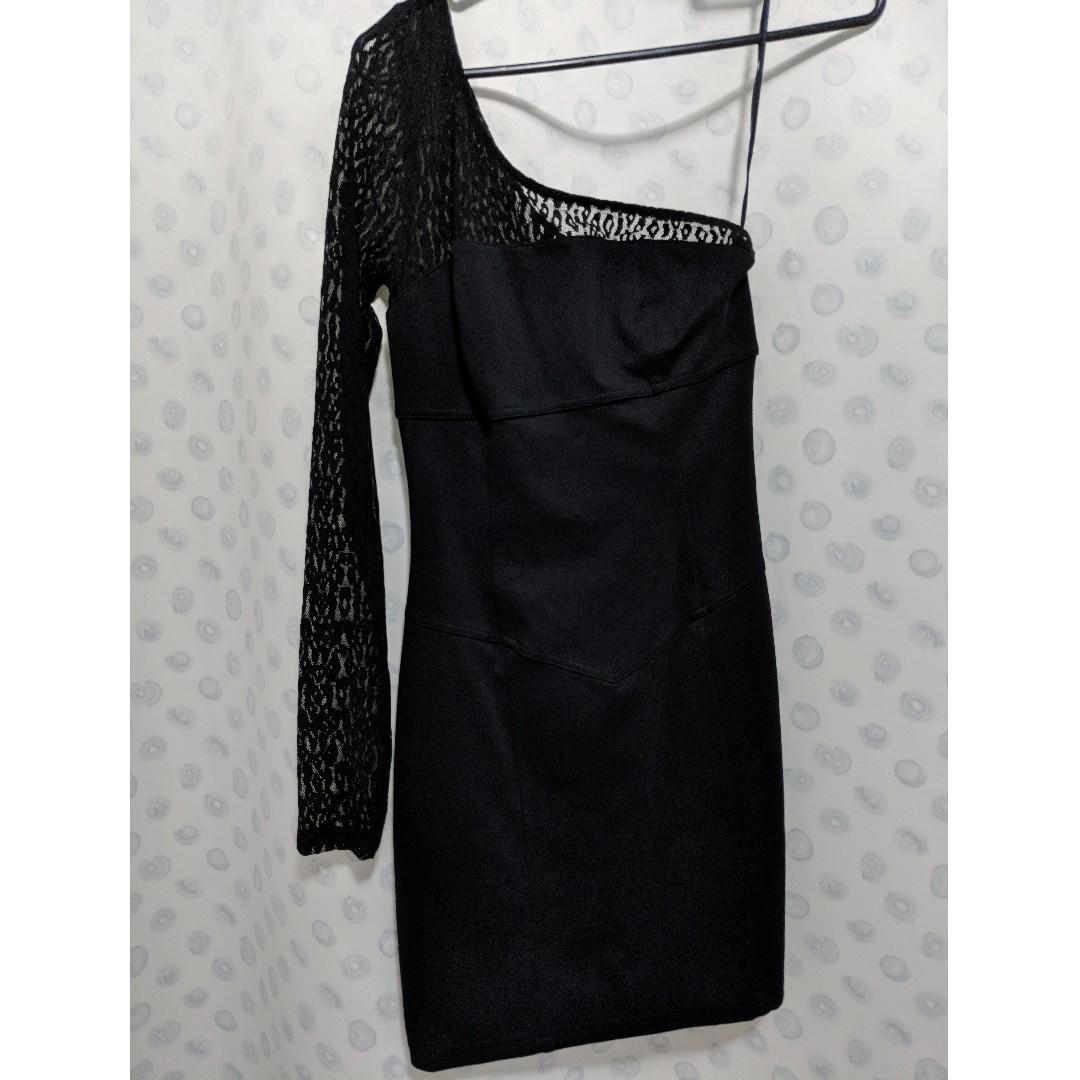 Guess jet black one shoulder dress size 5 RRP $99.95
