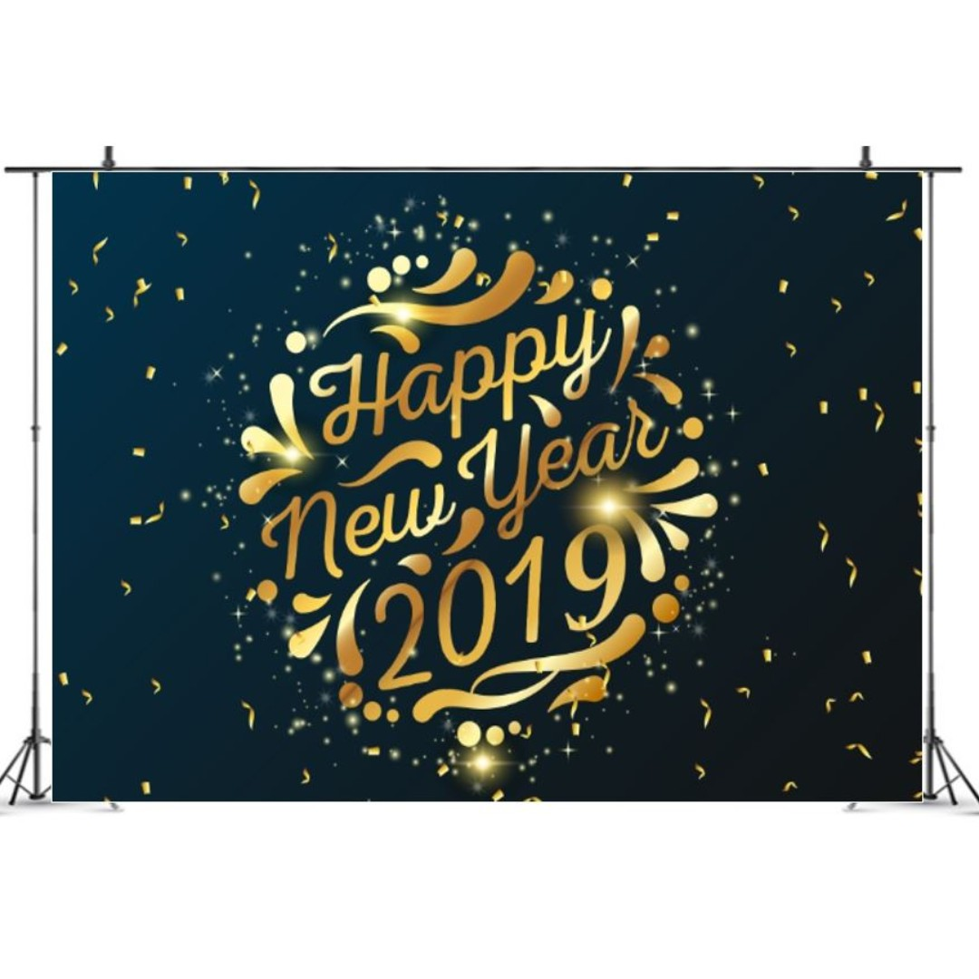 Happy New Year 2019 Blue With Gold Confetti Photobooth Backdrop