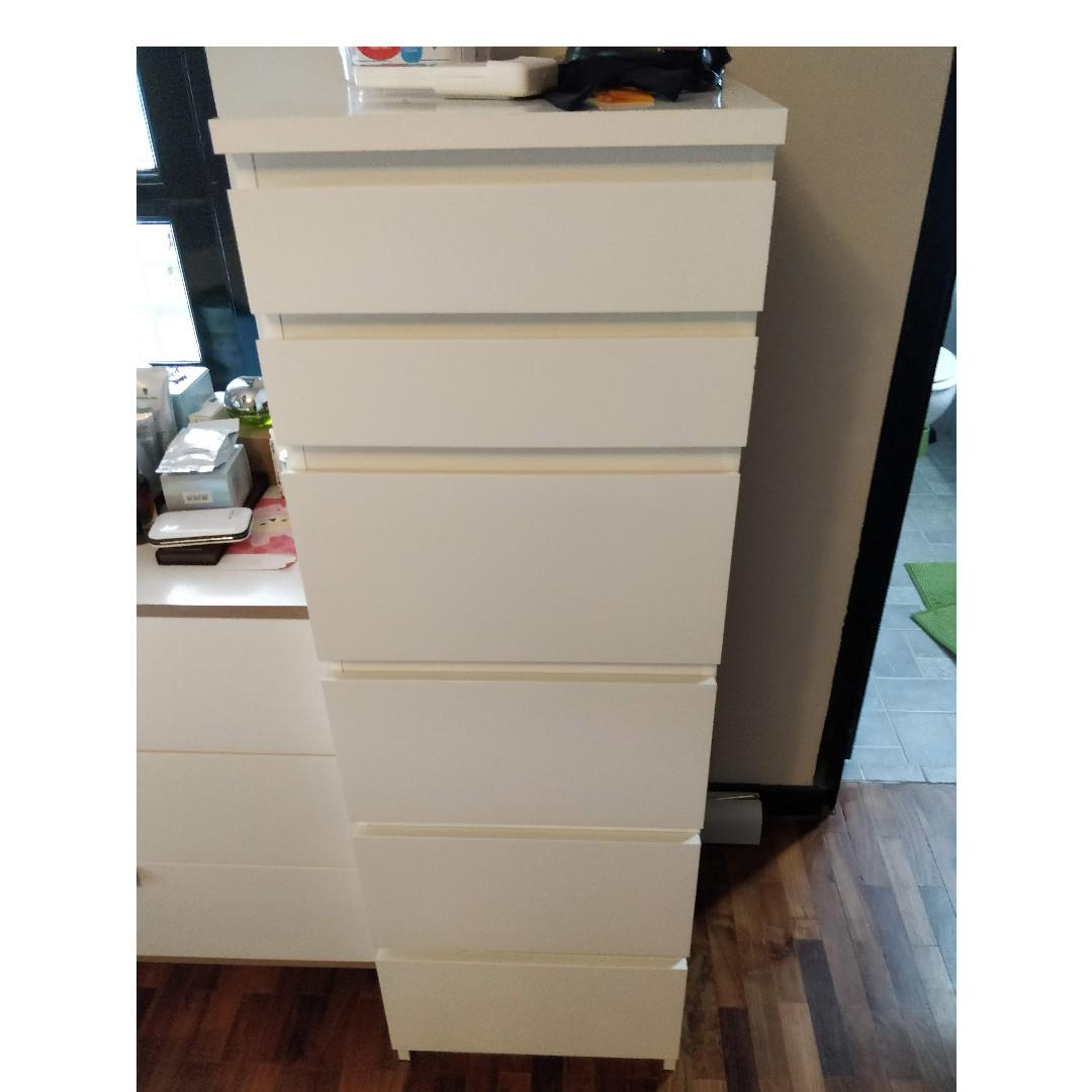 Ikea Malm Tall Chest Of 6 Drawers With Vanity Length Furniture Shelves Drawers On Carousell